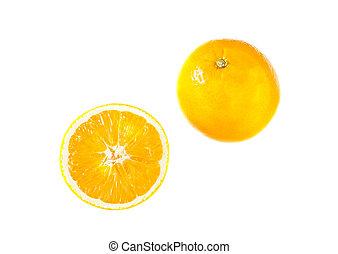 Orange fruit and slice isolated