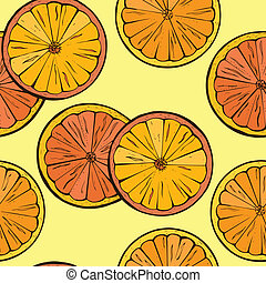 Orange fruit background. Seamless Pattern