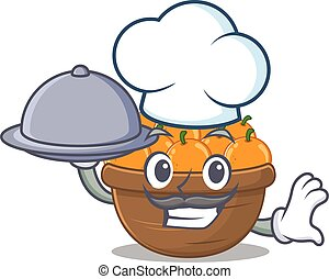 Orange fruit basket as a chef cartoon character with food on tray