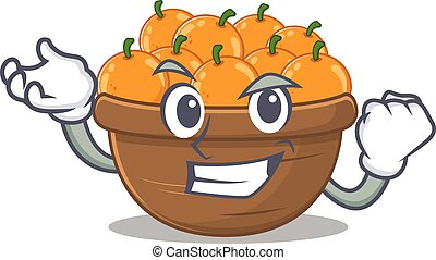 orange fruit basket cartoon character style with happy face