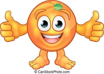 orange, fruit, caractère, dessin animé, mascotte