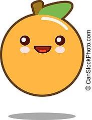 Orange fruit cartoon character icon kawaii Flat design Vector