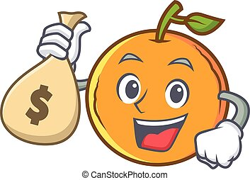 orange fruit cartoon character with money bag