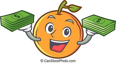 orange fruit cartoon character with money