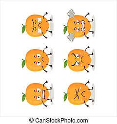 Orange fruit cartoon character with various angry expressions