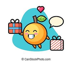 Orange fruit cartoon giving the gift