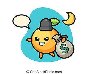 Orange fruit cartoon stolen the money