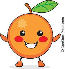 orange, fruit, dessin animé