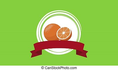 Orange fruit emblem HD animation - Orange fruit emblem with...