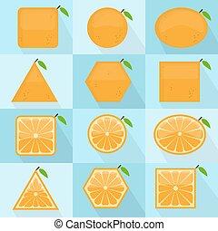 Orange fruit geometric shape