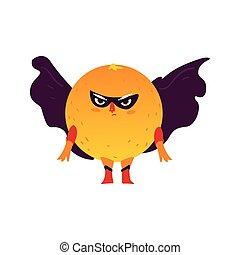 Orange fruit hero, superhero character, guard - Funny orange...