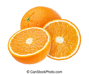 Orange fruit isolated on white background with clipping path.