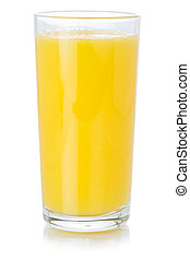 Orange fruit juice drink in a glass healthy eating isolated on white