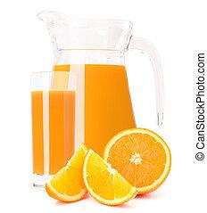 Orange fruit juice in glass jug isolated on white background...