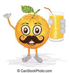 orange fruit mustache
