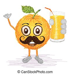 orange fruit mustache