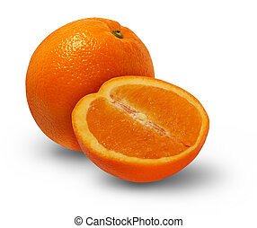 Orange Fruit - Orange fruit with a cross section of the...