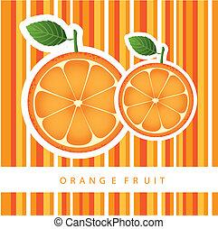 orange fruit over stripes background. vector illustration