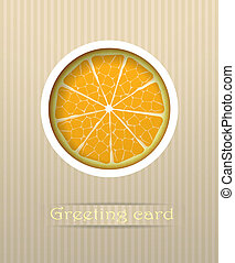 Orange fruit postcard vector illustration