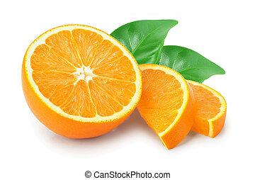 orange fruit slice with leaves isolated on white background