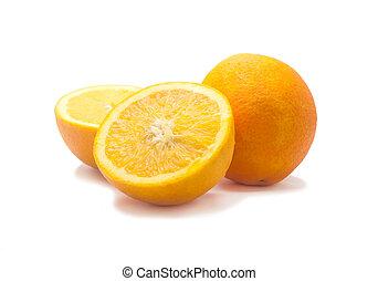 Orange fruit sliced isolated, Clipping path