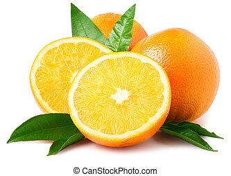 Orange fruit sliced isolated on white background