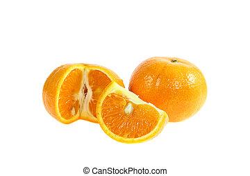 Orange fruit sliced isolated on white