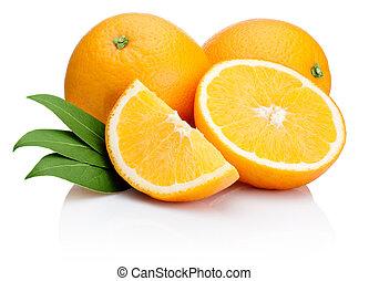 Orange fruit sliced with leaves isolated on white background