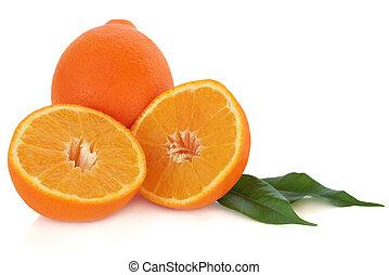 Orange Fruit - Orange fruit whole and in halves with leaf...