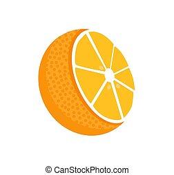 Orange Fruit Whole and Half Vector Illustration