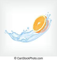 Orange fruit with water