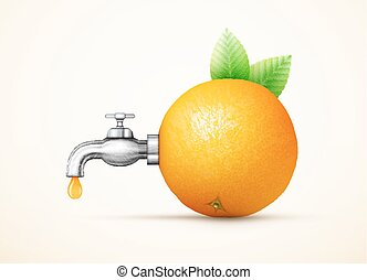 Orange fruit with water tap concept