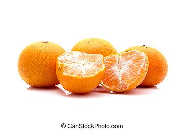 Orange fruits isolated on white background