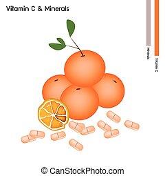 Orange Fruits with Vitamin C on White Background