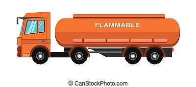 Orange fuel truck - Vector illustration of orange colored...