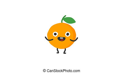 Orange funny character dances and smiles. Loop animation....