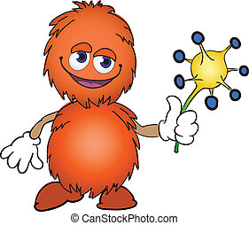 orange furry creature with a flower