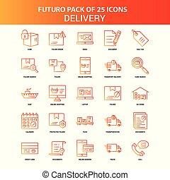 Orange Futuro 25 Delivery Icon Set
