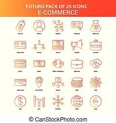 Orange Futuro 25 E-Commerce Icon Set