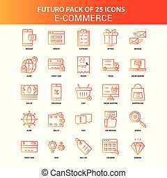 Orange Futuro 25 E-Commerce Icon Set