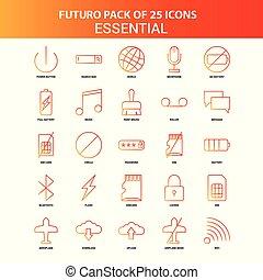 Orange Futuro 25 Essential Icon Set