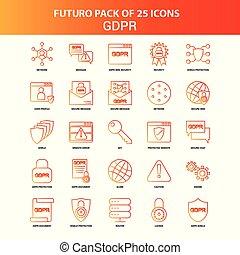 Orange Futuro 25 GDPR Icon Set