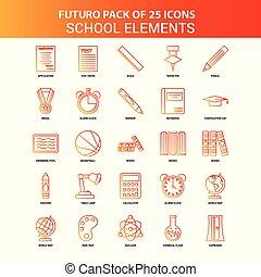 Orange Futuro 25 School Elements Icon Set