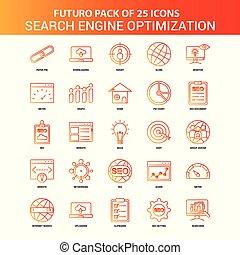 Orange Futuro 25 Search Engine Optimization Icon Set