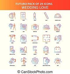 Orange Futuro 25 Wedding Love Icon Set