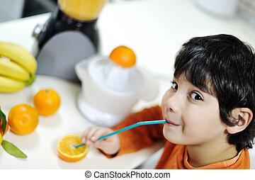 orange, garçon, peu