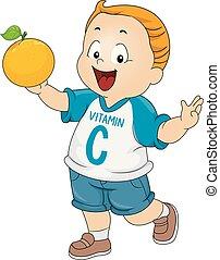 orange, garçon, vitamine, illustration, gosse