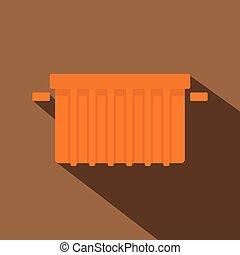 Orange garbage tank icon, flat style