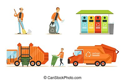Orange garbage truck and garbage man. Set of vector illustrations.