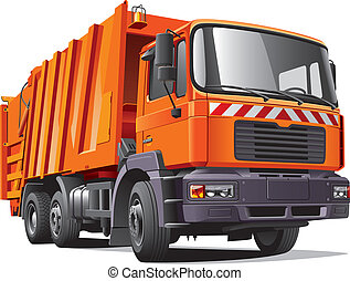 Detail vector image of modern garbage truck, isolated on white background. File contains gradients and transparency. No blends and strokes. Easily edit: file is divided into logical layers and groups.